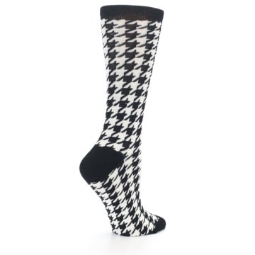 Image of Black White Houndstooth Bamboo Women's Dress Socks (side-1-23)