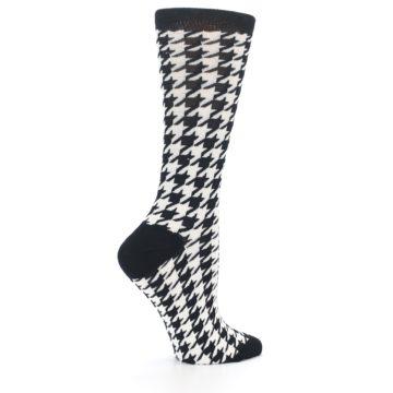 Image of Black White Houndstooth Bamboo Women's Dress Socks (side-1-24)
