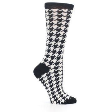 Image of Black White Houndstooth Bamboo Women's Dress Socks (side-1-25)