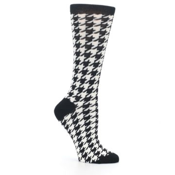 Image of Black White Houndstooth Bamboo Women's Dress Socks (side-1-26)