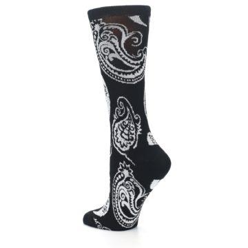 Image of Black White Paisley Bamboo Women's Dress Socks (side-2-back-14)