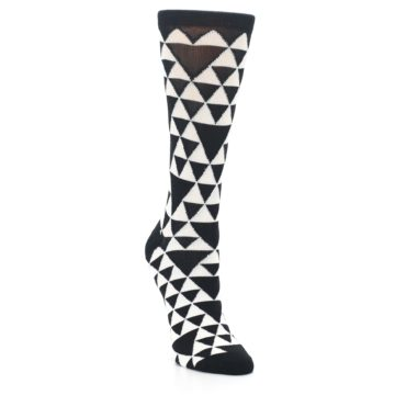 Image of Black White Triangles Women's Dress Socks (side-1-front-02)