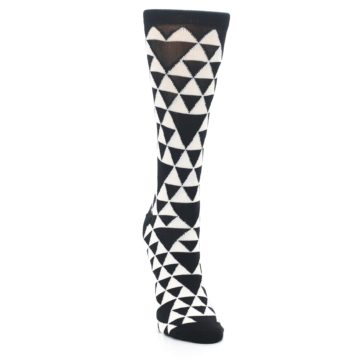 Image of Black White Triangles Women's Dress Socks (side-1-front-03)