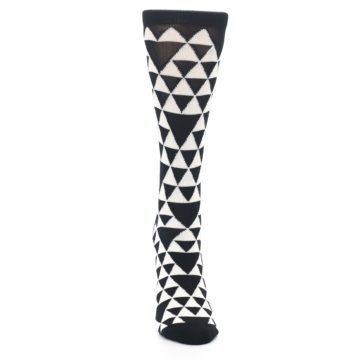 Image of Black White Triangles Women's Dress Socks (front-04)