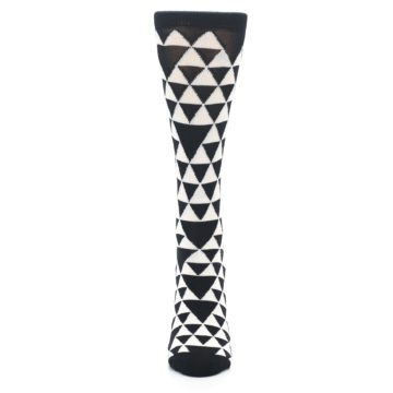 Image of Black White Triangles Women's Dress Socks (front-05)