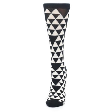 Image of Black White Triangles Women's Dress Socks (side-2-front-06)
