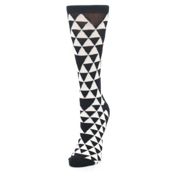 Image of Black White Triangles Women's Dress Socks (side-2-front-07)