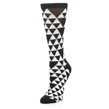 Image of Black White Triangles Women's Dress Socks (side-2-front-08)