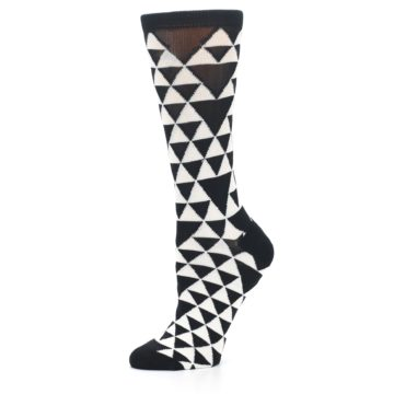Image of Black White Triangles Women's Dress Socks (side-2-10)