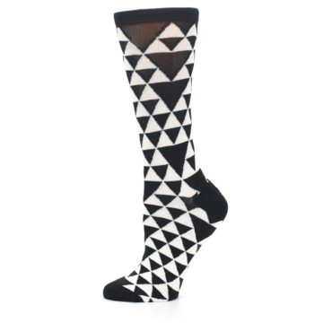 Image of Black White Triangles Women's Dress Socks (side-2-11)