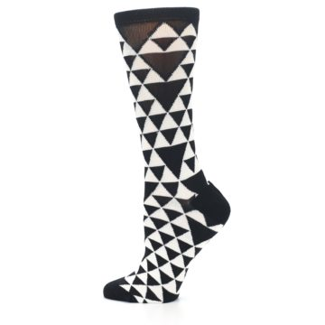 Image of Black White Triangles Women's Dress Socks (side-2-12)