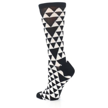 Image of Black White Triangles Women's Dress Socks (side-2-back-14)