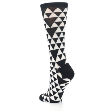 Image of Black White Triangles Women's Dress Socks (side-2-back-15)