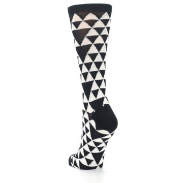 Image of Black White Triangles Women's Dress Socks (side-2-back-16)