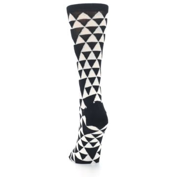 Image of Black White Triangles Women's Dress Socks (back-17)