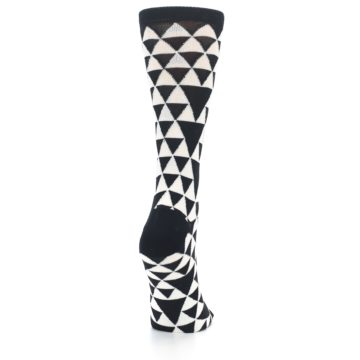 Image of Black White Triangles Women's Dress Socks (side-1-back-20)