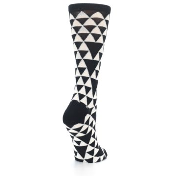 Image of Black White Triangles Women's Dress Socks (side-1-back-21)