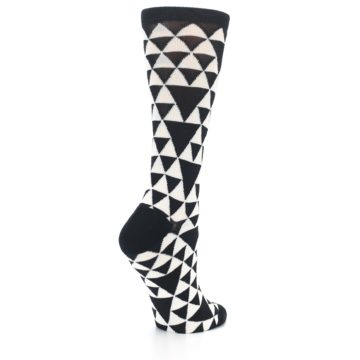 Image of Black White Triangles Women's Dress Socks (side-1-back-22)
