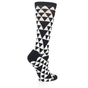 Image of Black White Triangles Women's Dress Socks (side-1-23)