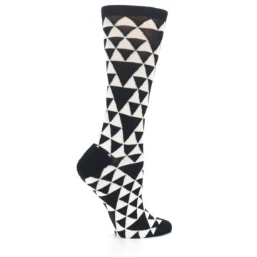 Image of Black White Triangles Women's Dress Socks (side-1-24)