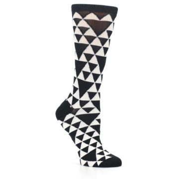 Image of Black White Triangles Women's Dress Socks (side-1-26)