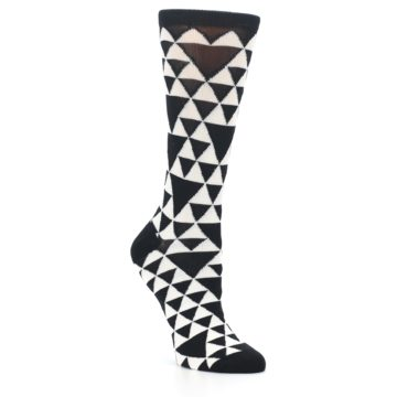Image of Black White Triangles Women's Dress Socks (side-1-27)