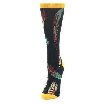 Image of Black Feathers Bamboo Women's Dress Socks (side-2-front-07)