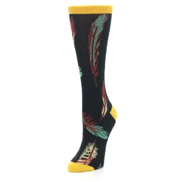 Image of Black Feathers Bamboo Women's Dress Socks (side-2-front-08)