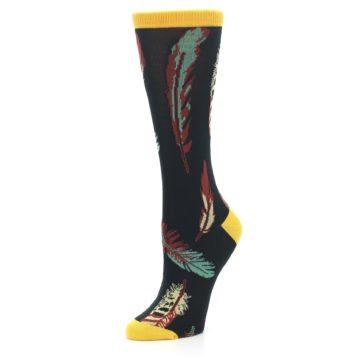 Image of Black Feathers Bamboo Women's Dress Socks (side-2-09)