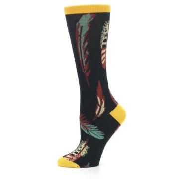 Image of Black Feathers Bamboo Women's Dress Socks (side-2-11)