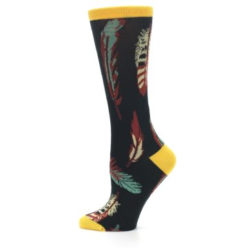 Image of Black Feathers Bamboo Women's Dress Socks (side-2-12)