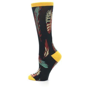 Image of Black Feathers Bamboo Women's Dress Socks (side-2-13)