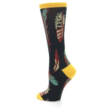 Image of Black Feathers Bamboo Women's Dress Socks (side-2-back-14)