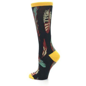 Image of Black Feathers Bamboo Women's Dress Socks (side-2-back-14)