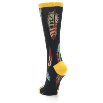 Image of Black Feathers Bamboo Women's Dress Socks (side-2-back-16)
