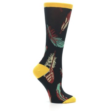 Image of Black Feathers Bamboo Women's Dress Socks (side-1-25)