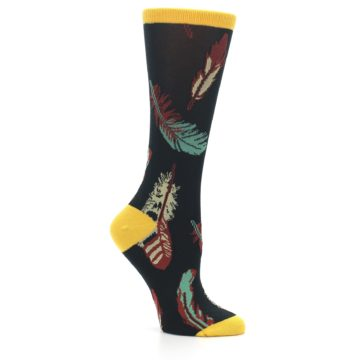 Image of Black Feathers Bamboo Women's Dress Socks (side-1-26)