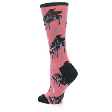 Image of Pink Baby Grand Piano Women's Dress Socks (side-2-back-14)