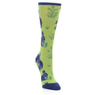 Image of Green Blue Vintage Rabbit Women's Dress Socks (side-1-front-02)