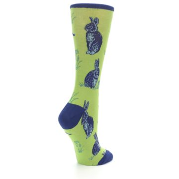 Image of Green Blue Vintage Rabbit Women's Dress Socks (side-1-back-22)