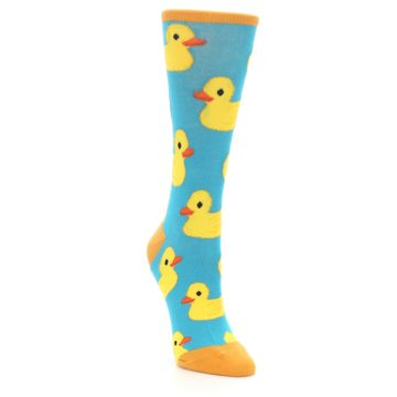Image of Turquoise Yellow Rubber Ducky Women's Dress Socks (side-1-front-02)