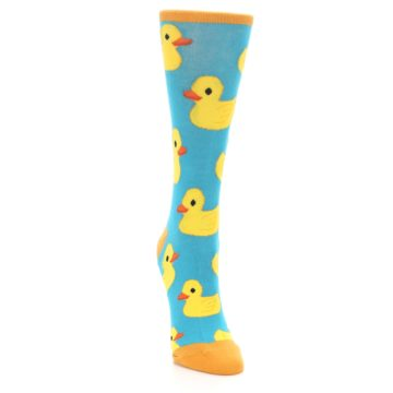Image of Turquoise Yellow Rubber Ducky Women's Dress Socks (side-1-front-03)