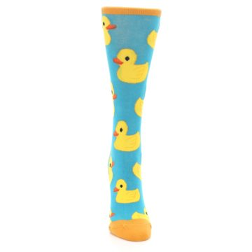 Image of Turquoise Yellow Rubber Ducky Women's Dress Socks (front-04)