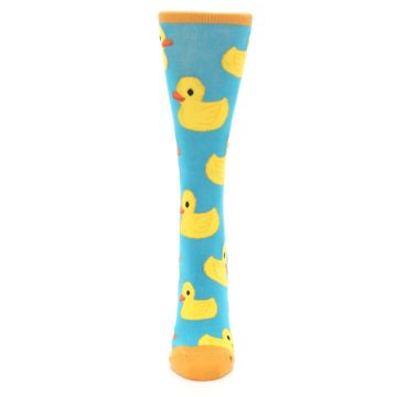 Image of Turquoise Yellow Rubber Ducky Women's Dress Socks (front-05)