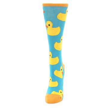 Image of Turquoise Yellow Rubber Ducky Women's Dress Socks (side-2-front-06)