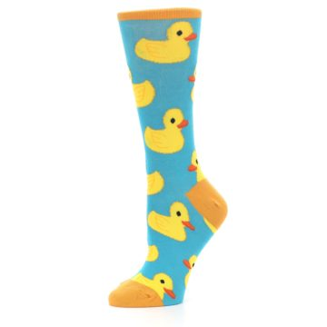 Image of Turquoise Yellow Rubber Ducky Women's Dress Socks (side-2-10)