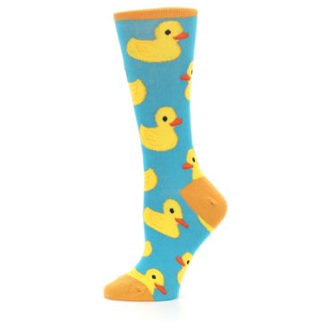 Image of Turquoise Yellow Rubber Ducky Women's Dress Socks (side-2-11)