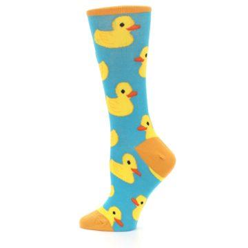 Image of Turquoise Yellow Rubber Ducky Women's Dress Socks (side-2-12)