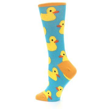 Image of Turquoise Yellow Rubber Ducky Women's Dress Socks (side-2-13)