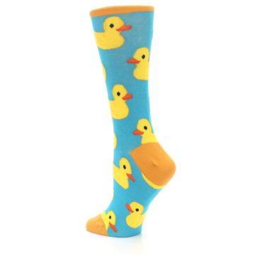Image of Turquoise Yellow Rubber Ducky Women's Dress Socks (side-2-back-14)